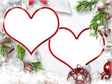 Новогодняя романтика. Две фоторамки в форме сердца. Елочные украшения, ветки елки, звездочки, снежинки, бубенцы, ленточка.