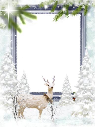 Прочие детские рамки. Рамка, фотоэффект: Фоторамка со сказочным оленем. Зимняя рамка для фото. Зимний лес, снег, ветки елки, северный олень, сияние, сказка.