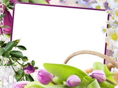 Фоторамка цветочная. Прямоугольная фоторамка с цветами. Тюльпаны, бутон розы, яблоня в цвету.