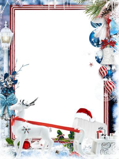 Прочие детские рамки. Рамка, фотоэффект: Новогоднее волшебство. Фоторамка с елочными украшениями. Олень и сани Санта-Клауса. Стеклянные шары, снег, зима, сказка.