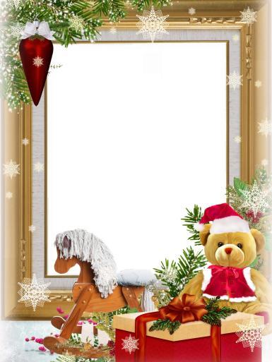 Прочие детские рамки. Рамка, фотоэффект: Новогодние игрушки. Фоторамка с детскими игрушками под елкой. Плюшевый мишка в шапочке Деда Мороза, деревянная лошадка, подарки, снежинки.