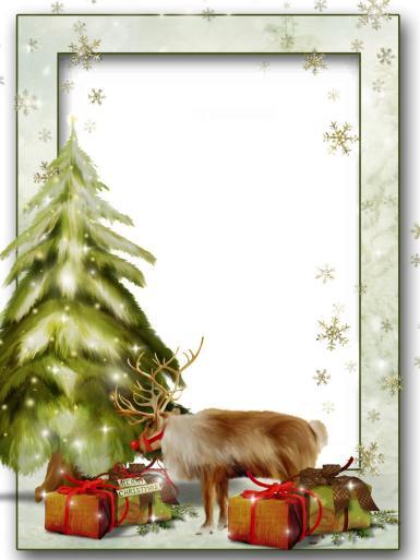 Прочие детские рамки. Рамка, фотоэффект: Северный олень. Новогодняя фоторамка с оленем Санта-Клауса. Елка, снег, снежинки, зима. Северный олень, коробка с подарками.