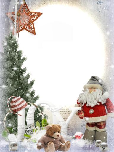 Прочие детские рамки. Рамка, фотоэффект: Игрушечный Санта Клаус. Фоторамка с новогодними игрушками. Санта-Клаус, плюшевый мишка, елка, новогодняя звезда. Надпись JOY