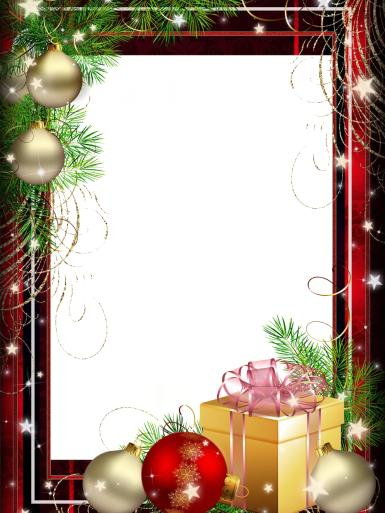 Новый год. Новогодние подарки. Фоторамка для новогодних фото. Елочные игрушки, коробка с подарками, красная рамка.