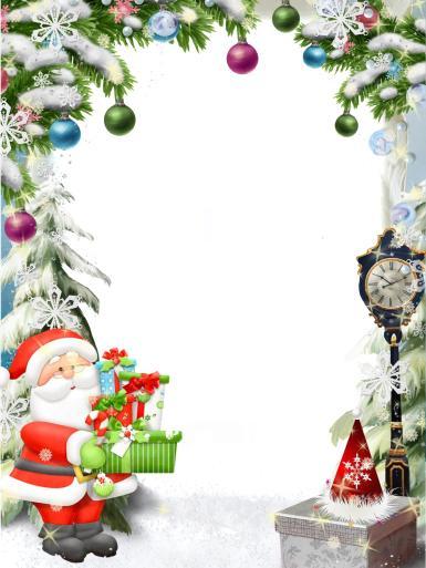 Рамка с Санта-Клаусом. Зимняя фоторамка для новогодних каникул. Санта-Клаус, подарки, елочные игрушки, зима, снег.