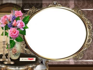 Овальная фоторамка-признание в любви. Золотая фоторамка, резной багет. Букет розовых роз. Подсвечник, письмо. Я тебя люблю!