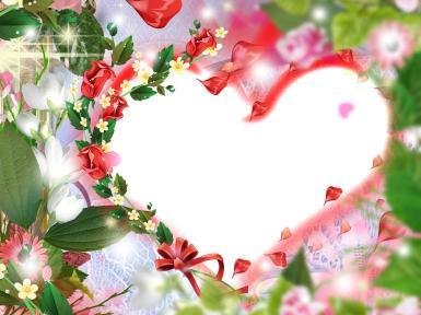 Фоторамка-сердце. Рамочка в форме сердца. Лето, цветы, красные розы, кружева, ленты.