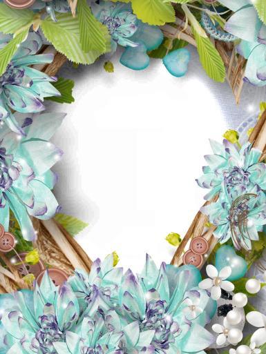 Лазурные цветы. Фоторамка из декоративных цветов. Бирюзовые лепестки. Белые цветочки. Венок.