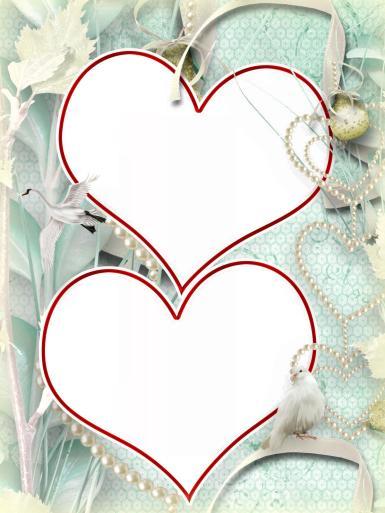 Свадебные. Рамка, фотоэффект: Свадебная валентинка. Двойная фоторамка из сердец. Два фото в одной рамке. Сердца из жемчуга, белый голубь, атласные ленты.