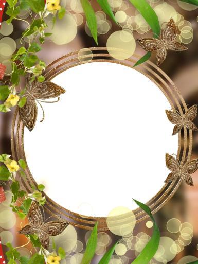 Круглая рамка с бабочками. Золотистая фоторамка. Золотые бабочки. Лето, зелень, листочки, цветы.