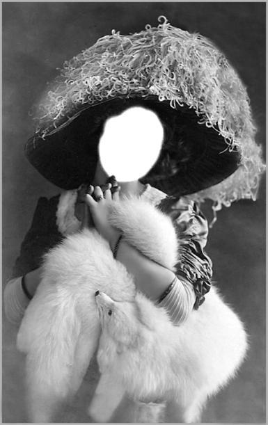 Винтажный фотомонтаж. Женский коллаж. Старинная фотография, винтаж, черно-белое фото. Широкополая шляпа, горжетка, собачка, мех, ретро.