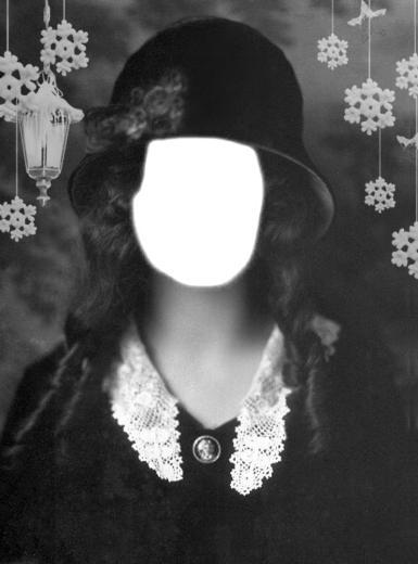 Старое фото. Фотомонтаж для девушек. Винтажное фото, фотомонтаж. Черно-белая фотография. Фотокарточка. Шляпка, кружевной воротничок.
