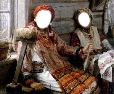 Приколы. Рамка, фотоэффект: Паночка. Фотомонтаж, коллаж. Украинки, народный костюм, прялка, хата.