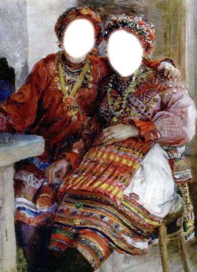 Приколы. Рамка, фотоэффект: Две казачки. Коллаж для девушек. Украинский народный костюм. Фотомонтаж, прикол.