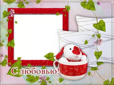 На каждый день. Рамка, фотоэффект: Открытка с любовью!. Фоторамка, открытка, сделанная с любовью. Открытка с фотографией. Плюшевая игрушка в кружке. Красная квадратная рамка для фото. Зеленая лоза. Две подушки.