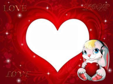 Зайчик с сердечком. Валентинка, романтическая фоторамка, рамочка в форме сердца, сердечко в руках, розовый зайчик, заяц в наушниках, красный фон, Love, любовь, романтика, отношения.