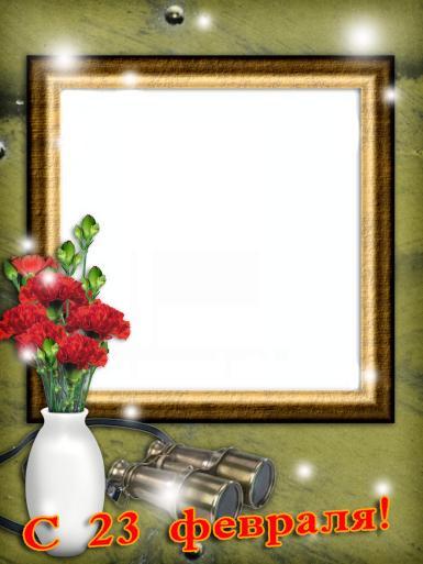 Мужские. Рамка, фотоэффект: Фоторамка на 23 февраля. Открытка к 23 февраля, фоторамка на день защитника отечества. Ваза с цветами, гвоздики. бинокль.