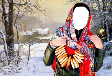Приколы. Рамка, фотоэффект: Женщина в красном платке. Коллаж для девушек. Фотомонтаж, прикол, фотошоп. Девушка в цветастом платке, связка баранок, зимний лес, снег, деревня, масленица