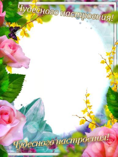 На каждый день. Рамка, фотоэффект: Чудесного настроения!. Фоторамка-мотиватор. Пожелание чудесного настроения. Поздравление просто так. Овальная рамка для фото. Цветы, розы.