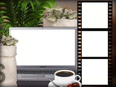 Мужские. Рамка, фотоэффект: Денежная фоторамка. Рамка на четыре фотографии. Фоторамка на экране ноутбука. Кадры фотопленки. Кружка кофе. Офис. Ваза с долларами. Баксы, валюта, купюры, куча денег.