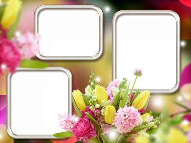 Праздник прихода весны. Весенняя фоторамка. Тройная фоторамка, три рамки для фотографий. Цветы, букет, весна.