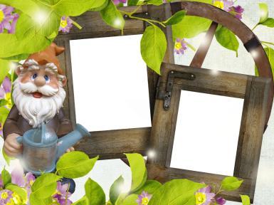 Прочие детские рамки. Рамка, фотоэффект: Фоторамка с садовым гномом. Двойная фоторамка, деревянная рамка для фото. Садовый гном, лейка, огород, дача, дерево, листья.
