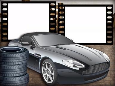 Мужские. Рамка, фотоэффект: Фоторамка с автомобилем и шинами. Фоторамка для автомобилиста. Шиномонтаж. Кадры фотопленки. Двойная фоторамка. Черная машина. Покрышки. Шины автомобиля.