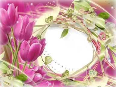 Лиловая фоторамка с тюльпанами. Круглая рамка для фото, фоторамка с лиловыми тюльпанами. Рамка из ленточек и травинок.