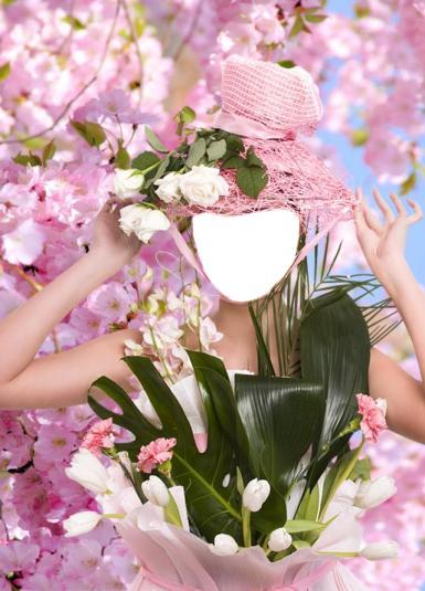Приколы. Рамка, фотоэффект: Сакура в цвету. Коллаж для девушек, фотомонтаж. Женщина-цветок. Сакура, Япония. Розовая шляпа с белыми цветами. Букет цветов. Ветка пальмы.