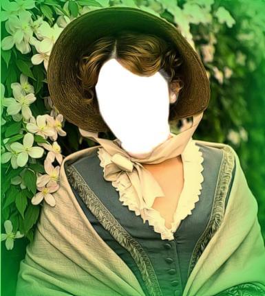 Зеленые, желтые рамки. Рамка, фотоэффект: Женщина в шляпе-капоте. Фотомонтаж, коллаж для женщины. 19-й век, шляпа-капот, кисейная барышня, зеленый сад, белые цветы.
