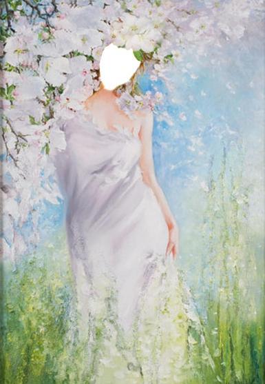 Фэнтези, картины. Рамка, фотоэффект: Коллаж Женщина-Весна. Коллаж для женщины. Весна, женщина в белом платье. Белые цветы, картина в пастельных тонах, акварель. Фотомонтаж, вставить лицо в фото.