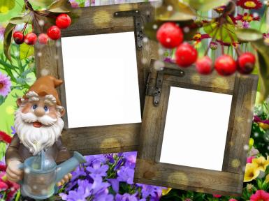 Прочие детские рамки. Рамка, фотоэффект: Фоторамка с садовым гномом. Двойная фоторамка для садовода. Гном с лейкой. Открытка с двумя фотографиями. Фигурка для сада. Фотографии с дачи.
