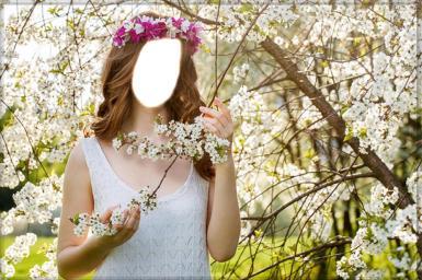 Зеленые, желтые рамки. Рамка, фотоэффект: Девушка-весна. Фотоколлаж, фотомонтаж для девушки, подставить фото в фотографию. Женщина в венке, цветущий сад, белые цветы, яблоня в цвету. Венок из цветов в волосах. Девушка в белом платье