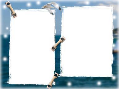 Мужские. Рамка, фотоэффект: Фоторамка с чайкой. Двойная фоторамка с чайкой, морская открытка. Фотографии с отпуска, отдых на море, открытка для фотографий с моря.