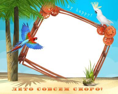 На каждый день. Рамка, фотоэффект: Лето совсем скоро!. Летняя фоторамка. Пляж, пальмы, попугаи. Лето совсем скоро! By happy!