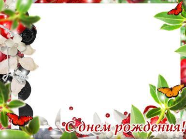 С днем рождения. Рамка, фотоэффект: С днем Рождения!. Фоторамка на День Рождения, открытка с фотографией, цветы. Пайетки, бабочки.