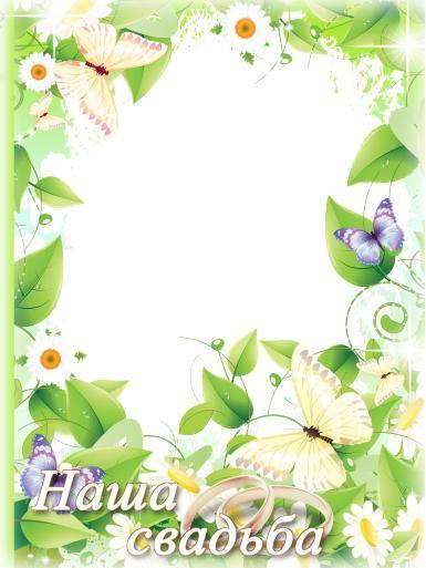 Свадебные. Рамка, фотоэффект: Фоторамка Наша свадьба. Свадебная фоторамка с ромашками. Сиреневые и желтые бабочки. Наша свадьба. Лето, ромашки.