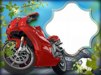 Мужские. Рамка, фотоэффект: Фоторамка с красным мотоциклом. Фигурная фоторамка. Красный мотоцикл, покрышки, колеса, шины. Футбольный мяч, асфальт, дорога, скорость. Фоторамка для мальчика.