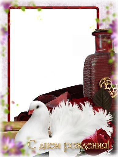 С днем рождения. Рамка, фотоэффект: С днем рождения!. Фоторамка с белым голубем, открытка с фотографией на день рождения.