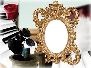 Женские. Рамка, фотоэффект: Фоторамка с зеркалом. Фоторамка для женщин. Зеркало в золотой раме, красная роза.