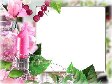 Женские. Рамка, фотоэффект: Фоторамка с розовой помадой. Фоторамка для женщин. Розовая помада, духи, стразы, розовый бутон.