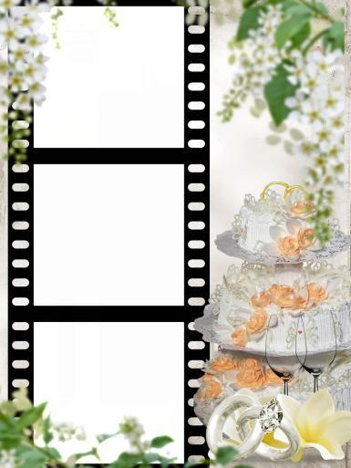 Свадебные. Рамка, фотоэффект: Свадебный торт. Фоторамка на свадьбу. Свадебный торт. Кадры фотопленки. Три рамки. Фоторамка на 3 фотографии. Белая черемуха, цветущая яблоня, гроздья белых цветов. Обручальные кольца, бокалы.