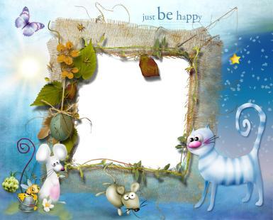 Малыши, дошкольники. Рамка, фотоэффект: Семейная открытка - Jast by happy. Детская фоторамка со сказочными животными. Кот, мышки, бабочка. Звездочки, солнце. Сказочная открытка с фотографией. Фоторамка в детский сад.