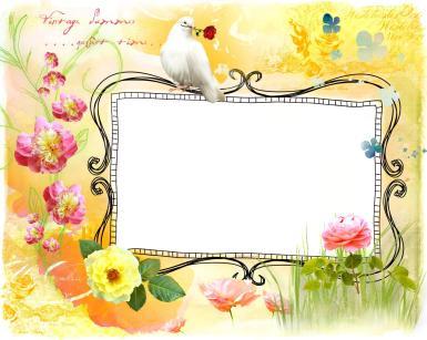 Женские. Рамка, фотоэффект: Фоторамка с белым голубем. Ажурная фоторамка. Желтый фон, цветы с крупными бутонами. Белый голубь с розой в клюве.
