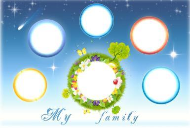 Для родственника. Рамка, фотоэффект: My family. Фоторамка для всей семьи. Космос и планеты. Небо и звезды, небосвод. Рамка на шесть фотографий. Моя семья, my family