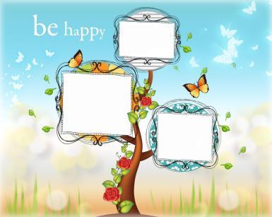Прочие детские рамки. Рамка, фотоэффект: Семейное дерево. Фоторамка для мамы, папы и ребенка. Семья. Дерево с фотографиями. Be happy. Бабочки, сказка, мультик.