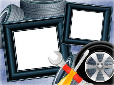 Прочие детские рамки. Рамка, фотоэффект: Фоторамка с покрышками. Мужская фоторамка, открытка для мальчика. Автомобили, шины, покрышки, запасное колесо, шиномонтаж, гаечный ключ, отвертка.