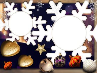Фоторамка-снежинка. Двойная фоторамка в форме снежинок. Оригинальная открытка к Новому году.