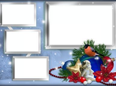 Новогодняя рамка. Новогодние шары, снегирь, четыре выреза
