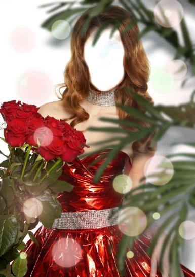 Женские. Рамка, фотоэффект: Новогодняя. Елка, девушка в красном платье